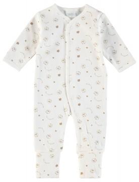 Einteiler / Overall / Schlafanzug mit Umschlagbündchen aus BIO BW - Natur Muster - FEETJE 225