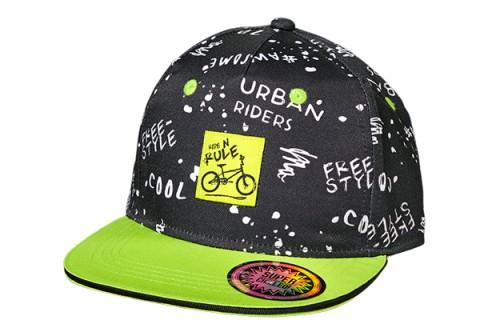 Cooles Cap in Schwarz mit geradem Schirm in Lemon, Modell Biker von MAXIMO 918776