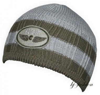 Topfmütze aus Schurwoll Strick in Grau Khaki mit Patch von DÖLL 750420336