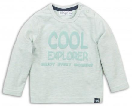 LA Shirt in einem matten Mint Melange mit Spruch Print für kleine Jungen von DIRKJE 36474