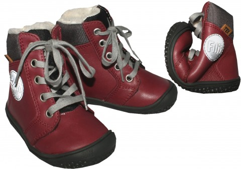 Filii Barefoot Winterstiefel Glattleder mit TEX Membran & Wollfutter in Berry *Everest* 192021 WX