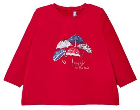 LA Shirt in kräftigem Rot mit süßem Regenschirm Print und Glitzer Details von MAYORAL 2059