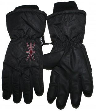 Schlicht Schwarze Skihandschuhe / Fingerhandschuhe gefüttert, mit textiler Stulpe von MAXIMO