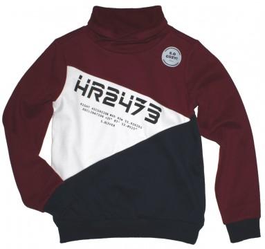 Cooles Sweatshirt mit Schalkragen innen kuschelig weich in Weinrot/Weiß/ Navy von S.OLIVER 6487