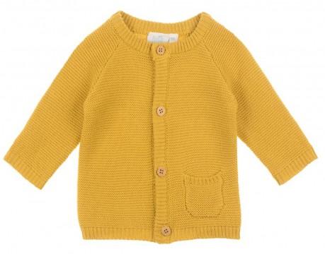 Schlichte Strickjacke in Curry Gelb aus reiner Baumwolle Unisex Kollektion von FEETJE 0348