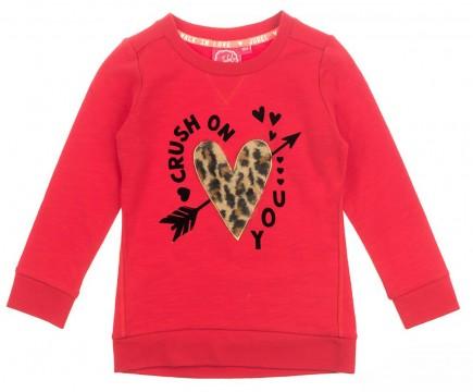 Sweatshirt aus Sommersweat / French Terry in Rot mit Herz Stick im Leo Design von JUBEL 0200