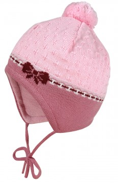 Süße Babymütze in Altrosé /Rosa mit Mini Bommel aus BW Strick v. MAXIMO zum binden 363300