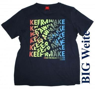 Lässiges T-Shirt in Dark Navy Blau mit Neon Frontprint , BIG Weite von s.OLIVER 6093