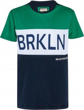 Color Blocking T- Shirt mit Front Print in Grün / Weiß/ Schwarz von BLUE EFFECT 6896