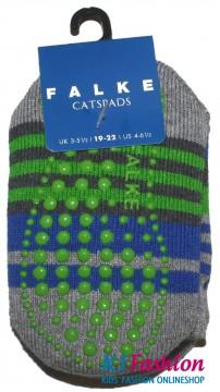 Catspads / Stopper Socken / Hausstrumpf von FALKE Streifen in Grau Melange FB 3405