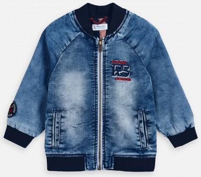 Coole Jeansjacke aus weichem Sweatdenim im College Jacken Style, Blue Stoned, von MAYORAL 3445
