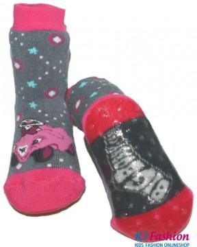 Stopper Socken / Stoppis von EWERS Modell Bobby Car in Grau / Pink 22075-3650