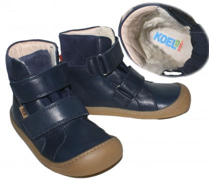 Leder Stiefel mit Klett in Marine, Wollfutter, TEX, Barfußschuhe, Weite W von KOEL4KIDS 989 TWB