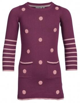Schickes Strickkleid aus reiner BW in Berry mit Altrosé farbenden Punkten von HAPPY GIRLS 903165