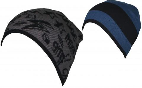 Coole Wendemütze aus Baumwollstrick in Denimblau/Navy -> Grau gemustert von MAXIMO 353200