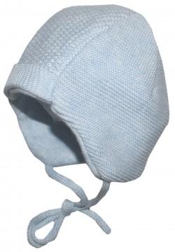 Süße Babymütze Uni in Hellblau aus weichem BW Strick, zum binden von MAXIMO 286800