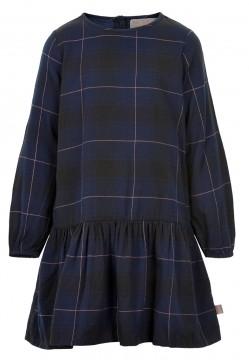 LA Kleid in Navy Blau mit dezentem Karo Muster von CREAMIE aus weicher BW Webware 820823