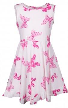 9e9ea5ba6fa3d2 Weit schwingendes Sommerkleid aus BW in Weiß mit Pinken Schmetterlingen von  HAPPY GIRLS 981413