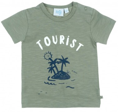 """Cooles T-Shirt Kurzarm in Army Green mit Plusterdruck von FEETJE """"Smile and Wave"""" 0580"""