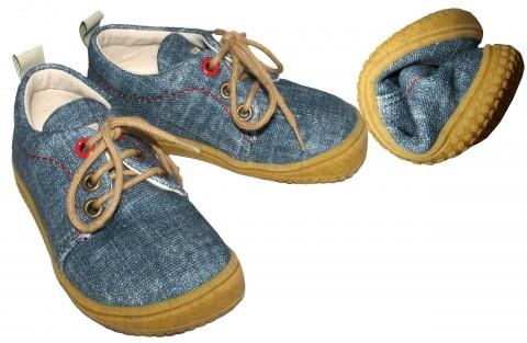Cooler Sneaker/ Barfußschuh aus GOTS zertifizierter Kba BW, Jeans Blue, Modell Softway von FILII