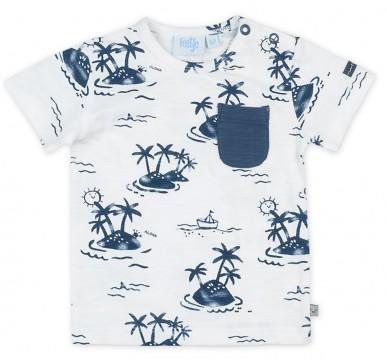 Bio BW Shirt Kurzarm im Maritimen Look, Offwhite mit blauem Palmenprint von FEETJE 0576