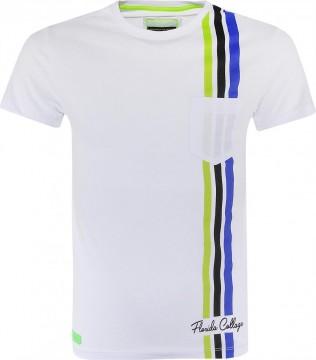 Sportlich lässiges T-Shirt in Weiß, Kontrast Streifen in Lemon, Kobalt & Schwarz BLUE EFFECT 6040