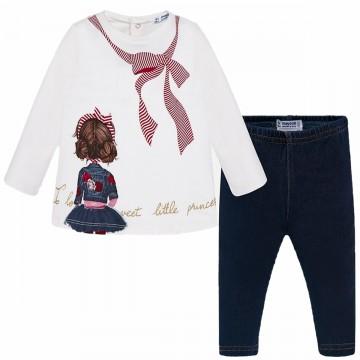 Süßes Set: Tunika Shirt BW Jersey mit Girlie Print & Leggins in Jeans Optik von MAYORAL 2740