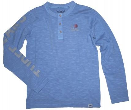 Henley Shirt Langarm in helllem Denim Blue aus Slub Garn für Boys von THREE OAKS 180018
