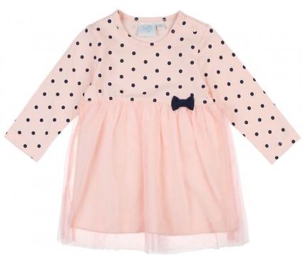 Niedliches Langarm Kleid in Zart Rosa mit Punkten aus BIO BW mit Tüllrock von FEETJE Classic Girl 03