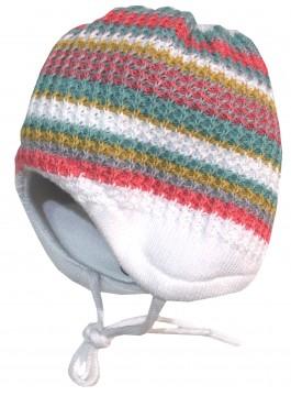 Babymütze aus doppeltem Baumwollstrick mit bunten Streifen, zum binden, von MAXIMO 333700