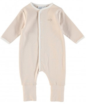 Einteiler/ Overall / Schlafanzug mit Umschlagbündchen aus BIO BW - Natur Stripe - FEETJE 226