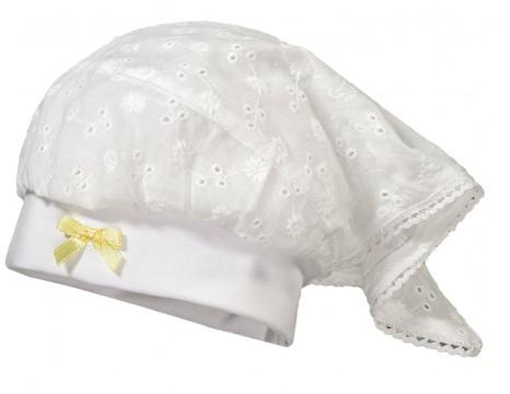 Süße Kopftuchmütze in Weiß aus luftiger Baumwolle mit zart gelber Zierschleife von MAXIMO 917576