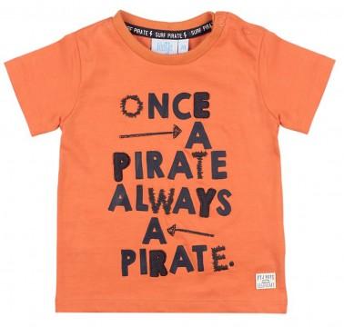"""T-Shirt in Rost Orange aus Bio BW mit Print & Stick für Boys von FEETJE """"Treasure Hunter"""" 0563"""