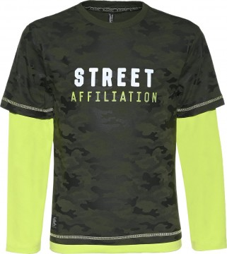 Double Layer Shirt in Oliv / Neon Apfel im Camouflage Muster für Boys von BLUE EFFECT 6093