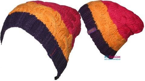 Grobstrickbeanie Tricolor in Lila, Orange, Pink von DÖLL mit Fleecebesatz Modell: 1428745174-7028