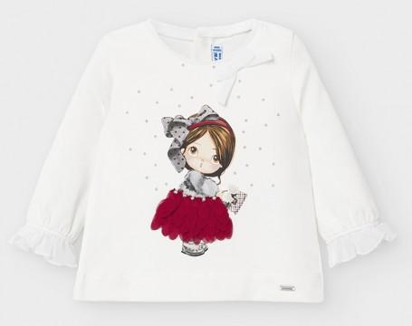 Süßes LA Shirt aus BW Jersey in Weiß mit zauberhaftem Motiv auf der Front von MAYORAL 2054