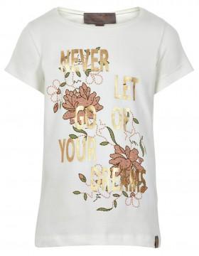Wunderschönes T-Shirt in Cremé mit goldenen Lettern und Flower Print von CREAMIE 820609