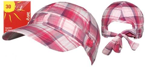 Leichtes Sommer Cap mit Schirm in Magenta/ Pink kariert mit Bindeband UV 30 von DÖLL 1538200638 fb24