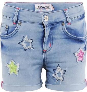 Super Stretch Hot Pants in Light Blue mit bunten Sternen / Pailletten bestickt von BLUE EFFECT 3240