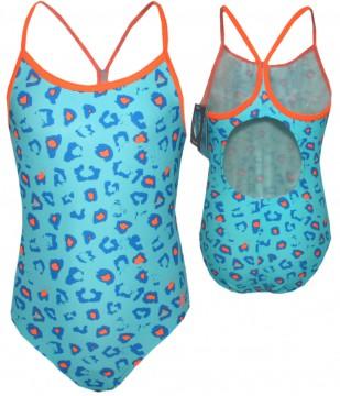 Badeanzug im Leo Design von COLOR KIDS mit dem UPF Schutz 40+ BERTHA iin TÜRKIS
