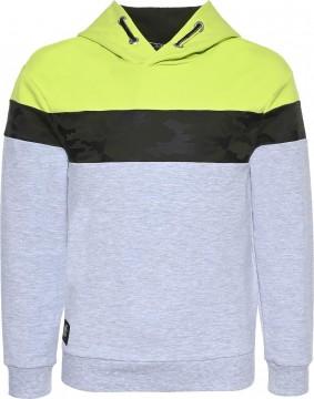 Kapuzensweater / Hoodie in Grau / Camouflage Oliv & Neon Apfel von BLUE EFFECT 6110