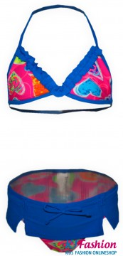 Bikiniset in Knalligem BLAU mit Rüschenbesatz & Miniröckchenbesatz von LENTIGGINI