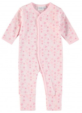 Einteiler / Overall / Schlafanzug mit Umschlagbündchen aus BIO BW - Rosa Muster - FEETJE 225