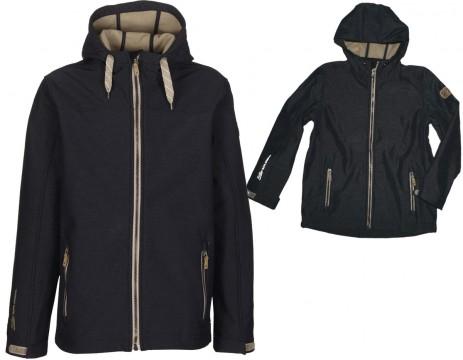 Trendstarke Softshell Jacke im Denim Look in Dark Blue Melange / Schwarz von KILLTEC GALEO