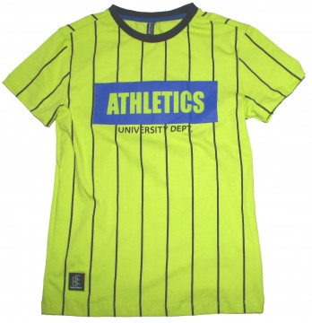 Lässiges T-Shirt in Neon Apfel Grün mit schwarzen Streifen von BLUE EFFECT 6021