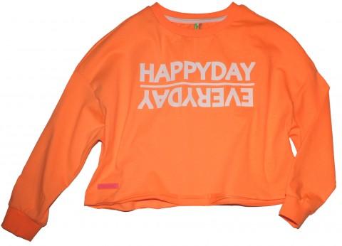 """LA Shirt Boxy Style / Oversize in Neon Orange mit """"Happy Day"""" Frontdruck von BLUE EFFECT 5508"""