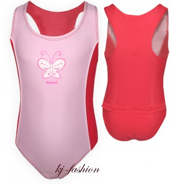 Badeanzug mit UV 80 Modell Butterfly in Rosa / Rot Pink von PLAYSHOES 460063