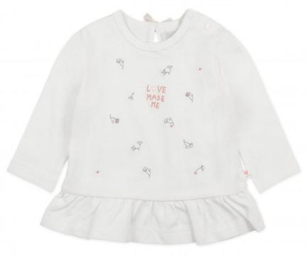 """LA Shirt Offwhite mit Blütenstick & Volantabschluß aus BIO BW Jersey, FEETJE """"Love Made Me """" 1530"""