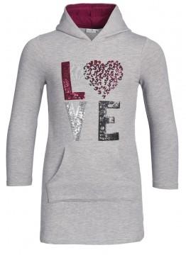 Graues Sweatkleid / Hoodie Kleid mit Kapuze, Pailletten Stick & Glitzerbesatz von HAPPY GIRLS 903176