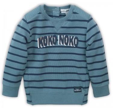 Cooler Sweater in Grey Mint / Navy gestreift mit Logo Print von KoKo NoKo für Jungen 36810